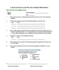 Printables Cub Scout Worksheets teaching lnt cubs award worksheet
