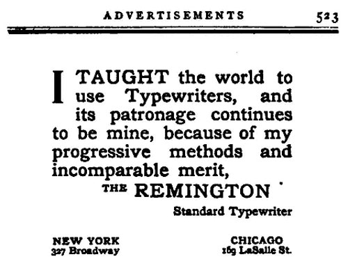 Remington typewriter advertisement m.a. keller